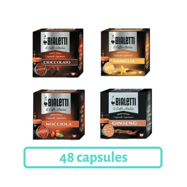 pack decouverte 48 capsules gourmandes bialetti