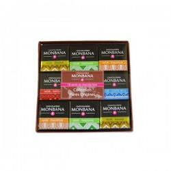 Coffret collection 18 carrés chocolat noir pures origines - 72g - Monbana