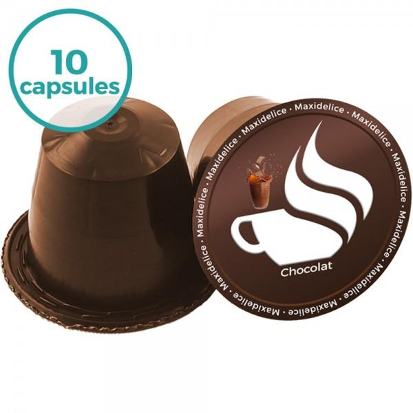 10 capsules compatibles nespresso chocolat maxidelice. Black Bedroom Furniture Sets. Home Design Ideas
