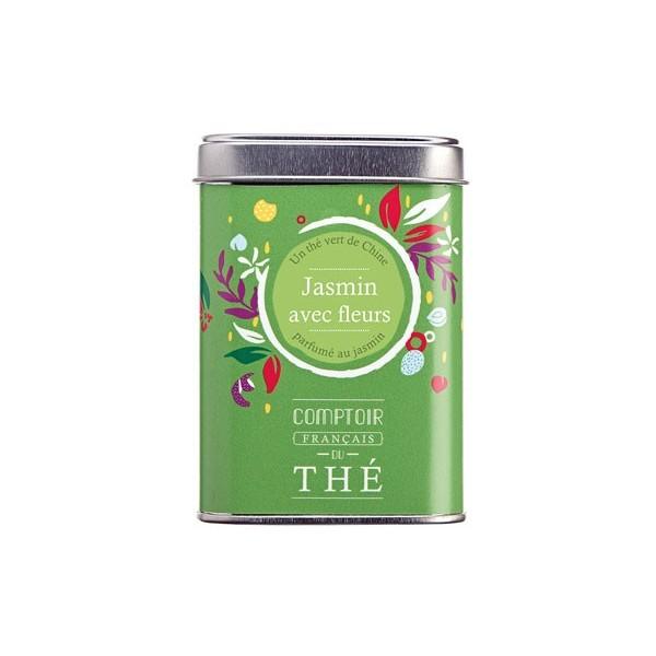 """thé vrac en boite métal """"jasmin avec fleurs"""" comptoir français du thé"""